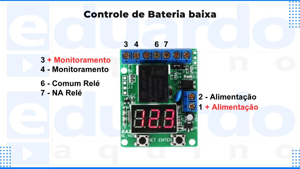 Transferência Automática Solar - TRANSFERÊNCIA Automática Solar - Detalhes da Placa de Controle de Bateria Baixa