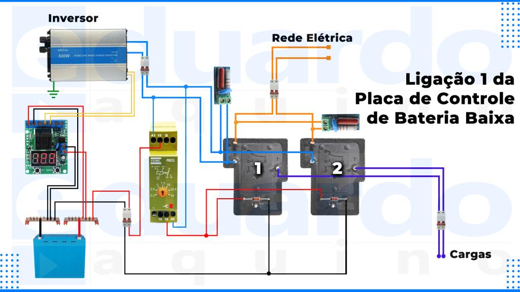 Ligação da placa de controle de bateria baixa 1