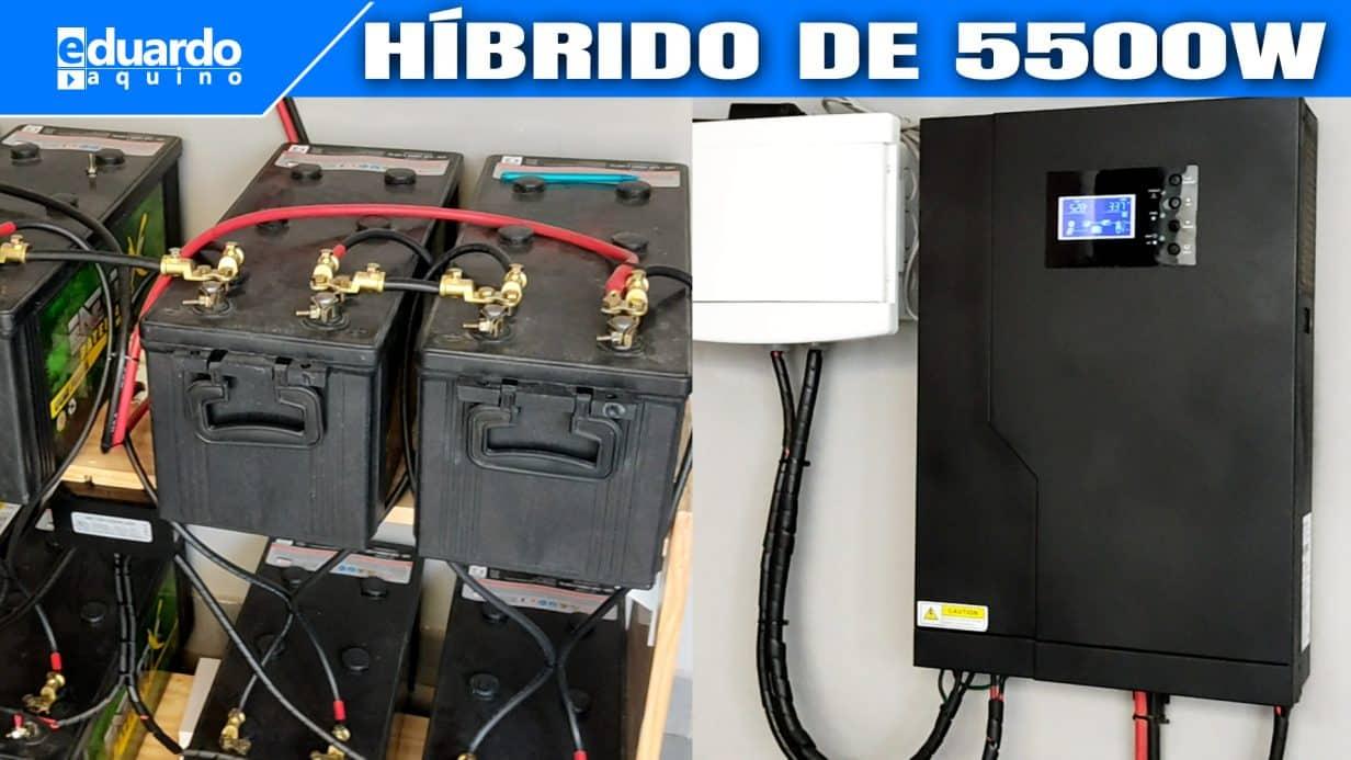 8 Baterias de Caminhão + 12 Placa Solar 280Wp + Inversor Híbrido 5500W