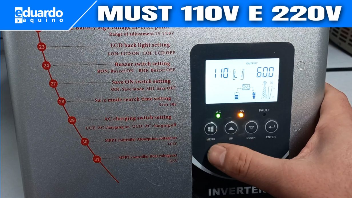 Como Configurar Inversor Híbrido MUST 3000W Saída 110V e 220V PV3300 TLV